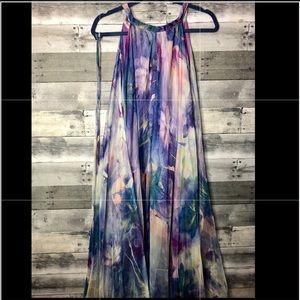 Floral watercolor maxi dress